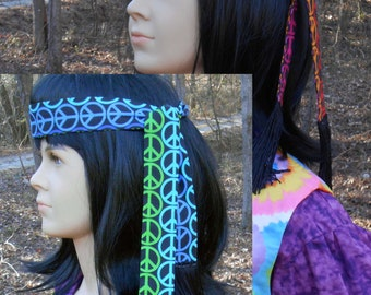 A172     Groovy Peace Sign Hippie Headbands  Ready To Ship