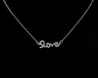 Sterling Silver Love Necklace, CZ Diamond Choker Necklace, Dainty Love Pendant, Silver Love Charm, Gifts For Her