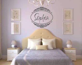 Monogram Wall Decal Custom Name Wall Decal with Border