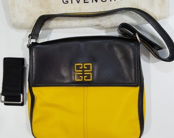 Authentic Vintage 90s New Never Used GIVENCHY Chic Mod Yellow Black Leather Shoulder Bag Hand Bag, Adjustable Strap - from Singapore