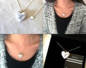 Personalized Initial Necklace, White Porcelain Heart With 23k platinum Initial with Swarovski Crystal, Sterling Silver Porcelain Necklace