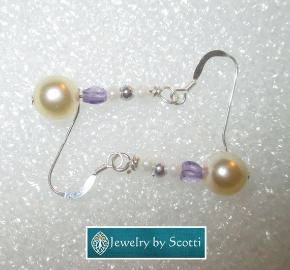 Dainty Purple Gemstone and Pearl Earrings, Sterling Silver Hooks, Cubic Zirconia Hearts, Czech Glass Pearls, Matching Necklace Available