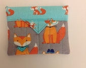 """Whimsical Foxes Quilted Fabric !ini Snap Bag Pouch Handmade Novelty Handbag 5-1/4"""" x4"""""""