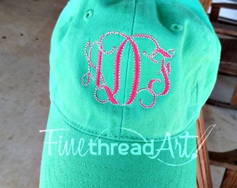 KIDS Monogram Baseball Cap Hat Fabric Strap Metal Buckle Youth Preppy Ball Cap Child Size Mint Hot Pink Navy