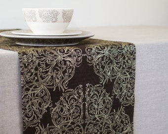 Wedding Linen Table Runner Brown With Gold Runner Wedding Table Decor Art Nouveau Style Runner Metallic Decor Table Linens