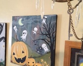 happy halloween 11x14 art print / halloween decor / jack-o-lanterns / ghosts / candy corn flowers / pumpkin spice everything / spooky cute