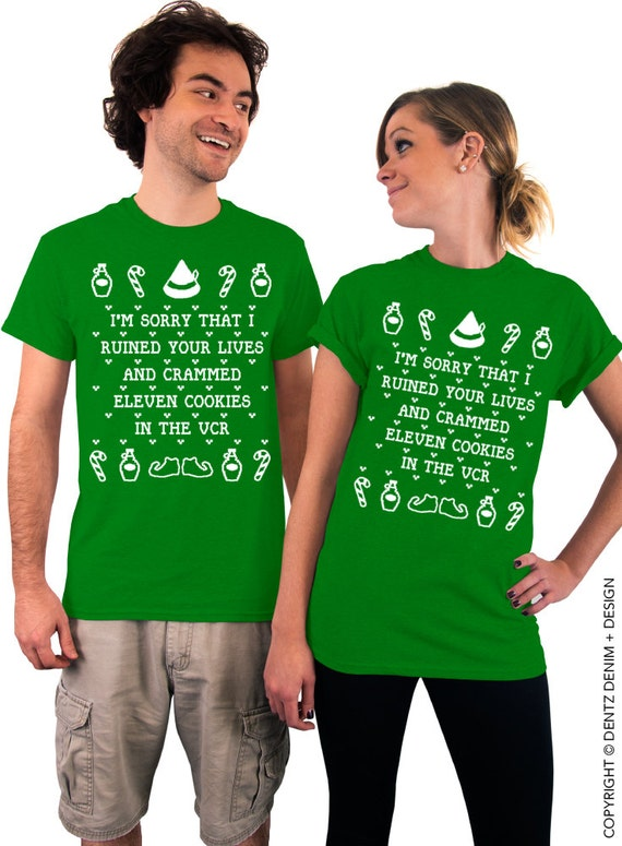 Christmas T-Shirt. Cookies Crammed VCR. Green T-shirt for Men & Women. Funny Christmas T-Shirt. Elf Tee. Novelty Christmas T-shirt.