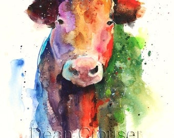 HAPPY COW Watercolor Print by Dean Crouser