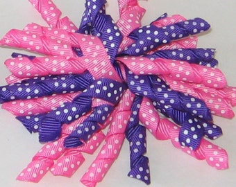 Korker Hair Bow, Curly Hair Bow, Curled Ribbon Bow Clip, Pink, Purple, Hair Clip, Free Shipping Offer, Hair Accessory, Clip, RTS