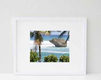 Tropical Decor - Barbados Photograph - Island Photography - Beach Wall Art - Caribbean Sea Photo - Blue and Green Print - Palm Tree