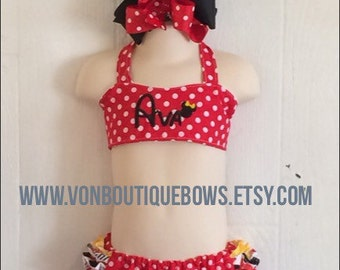 Red polka dot yellow Ruffled Halter Swimsuit Bikini Personalized Baby Toddler Youth vonBoutiqueBows 6 12 18 months 2T 3T 4T 5T 6 girls