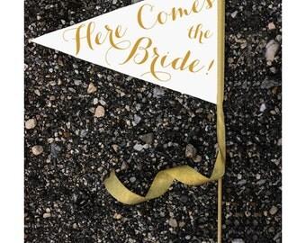 Here Comes The Bride Sign - Large Pennant Flag Wedding Banner | Flower Girl Flag Ring Bearer | Modern Script Copper & Gold Glitter Metallic