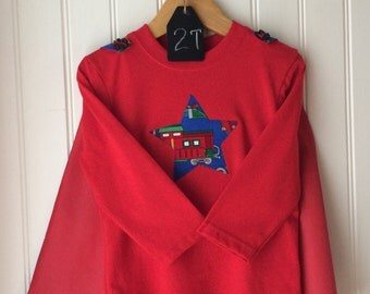 Tee + Cape - All Aboard Trains - Boy's 24 month