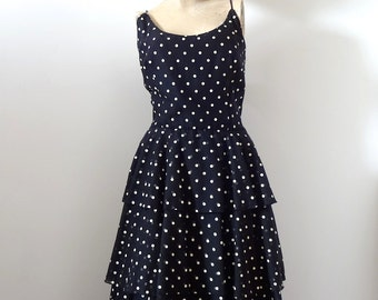 1980s Polka Dot Party Dress - vintage shirtwaist with tiered skirt