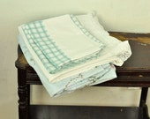 Vintage Queen Sheet Set Remixed Linens Lace Edge Checks White & Blue Bedding Shabby Cottage
