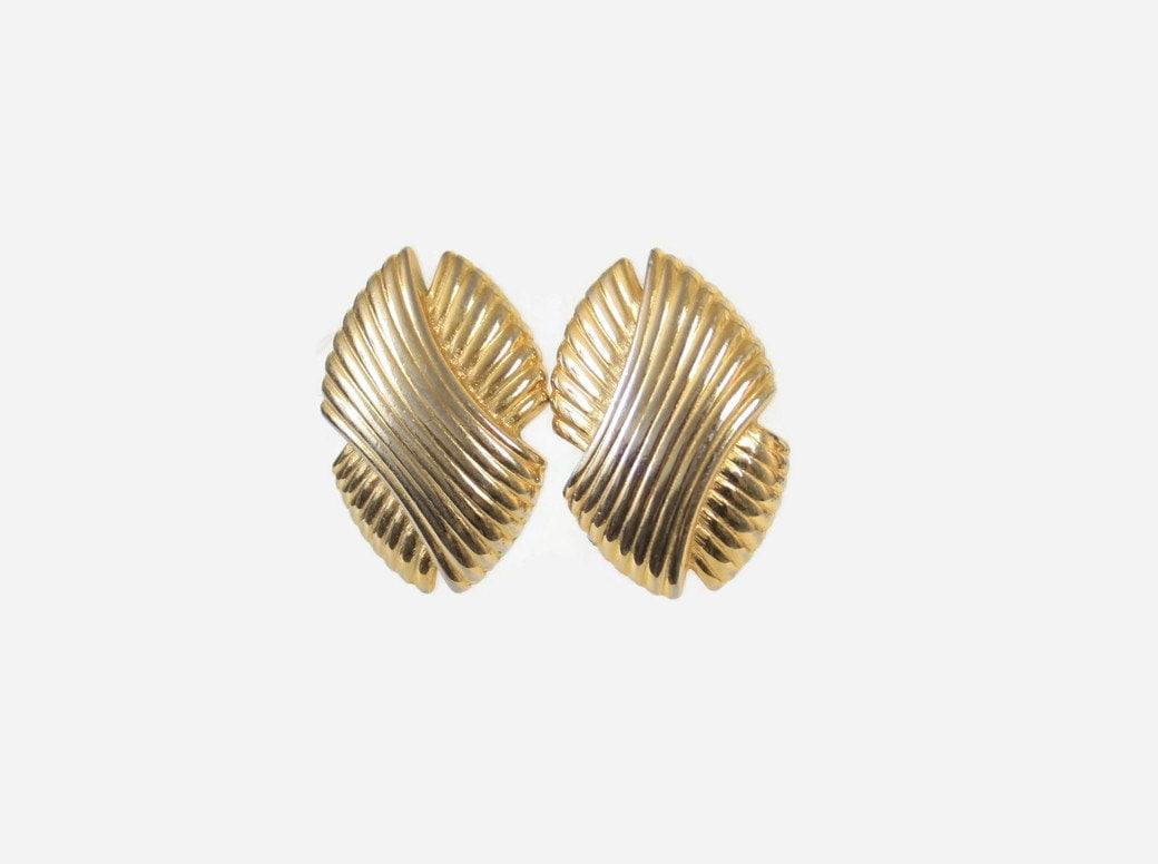 Vintage GIVENCHY Earrings / 1980s Gold Designer Clip Earrings
