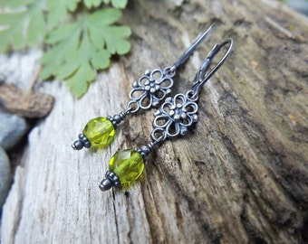 Neo-Victorian Olivine Green Oxidized Silver Earrings by Quintessential Arts