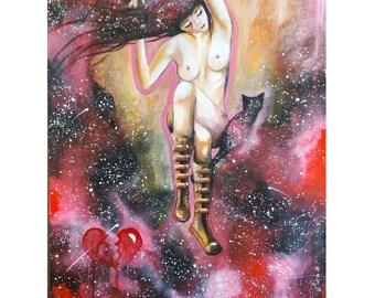"""18"""" x 24"""" Original Painting Nude Woman"""