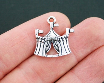 4 Circus Tent Charms Antique Silver Tone - SC5151