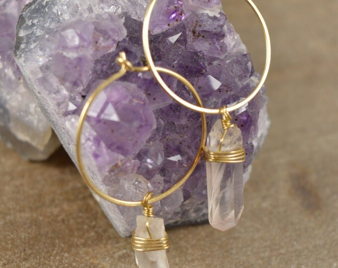 Quartz Crystal Clear Wire Wrapped Hoop Earrings, Raw Quartz Point Earrings