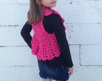 Girls Pink Bolero Fits size 4T to 8x Ready To ship, Girls Shrug, Crochet Shrug, Crochet Bolero