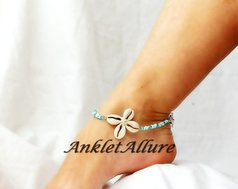 Cowrie Flower Anklet Shell Beach Body Jewerly Beach Ankle Bracelet Blue Stone Flower Anklet Cruise Vacation Beach Resort