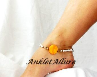 My Buttercup Flower Anklet Shell Anklet Yellow Beach Body Jewelry Cruise Vacation Beach Ankle Bracelet