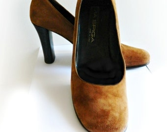 Brown Suede Leather Pumps / Via Spiga Made in Italy