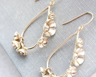 Gold Floral Hoop Earrings Gold Dangle Earrings Unique Modern Bridemaid Jewelry Nickel Free Garden Wedding Flower Cluster Gift For Girlfriend