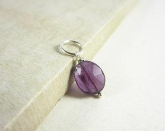 Sale - Sterling Silver Necklace Charms - Dark Purple Amethyst Gemstone - Natural Amethyst Jewelry - Faceted Amethyst Pendant - Amethyst Birt