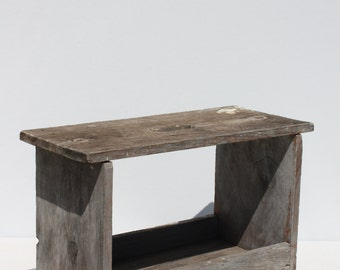 Vintage Wood Wooden Stool Bench Step Stool Authentic Primitive Rustic Distressed Gray Weathered Barn Wood Two Tiered Farmhouse Hand Crafted