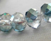 """8mm Half Teal Faceted Crystal Rondelle Beads, 8mm x 6mm, 8"""" Strand, 35-36 beads"""