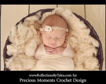 Newborn Halo, Vintage Style Newborn Headband, Beige Flower Lace Tie Back,  Dainty Halo, Baby Tie Back Halo, Newborn Photo Prop