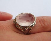 Rose Quartz very large gemstone pale pink pantone statement silver cocktail ring, hand made pastel pink floral ring, gorgeous warm tone