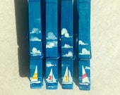 SAILBOAT CLOTHESPINS hand painted magnetic