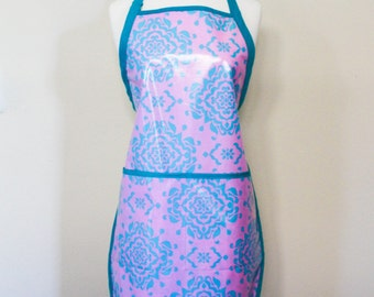Womens Waterproof Apron Crafters Apron in Pink and Teal Damask