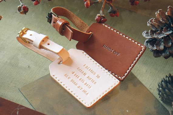 Custom personalized genuine leather hand stamped luggage tag. Personalized it with your own message