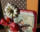 Birthday Card, Make a Wish, handmade BIRTHDAY greeting, Happy Birthday card, Robin birthday card bird, Boho birthday card