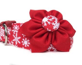 Christmas Dog Collar & Flower, Dog Collar Flower, Snowflake Dog Collar, Girl Dog Collar, Collar Flower, Red White Dog Collar, Winter Collar