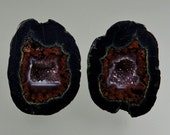 Tobasco (Illianita) Geode 100% Natural Hand Cut Cabochon Pair from 49erMinerals Stock C1473, free U.S. shipping