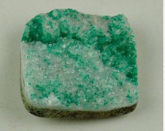 Dioptase Crystals on Calcite Cabochon