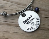 """Bonus Mom Bracelet- Hand-stamped """"Bonus Mom est. (year of choice)"""" with a stamped heart with an accent bead in your choice of colors"""