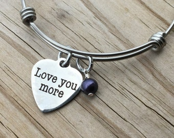 """Family Charm Bracelet- """"Love you more"""" laser etched charm with an accent bead in your choice of colors"""