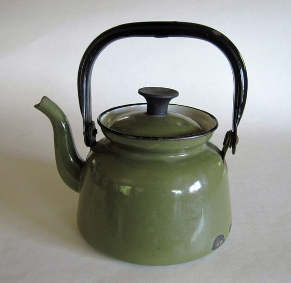 Green Kitchen Kettle: Enameled Green Black Kettle 1960s Made In Poland