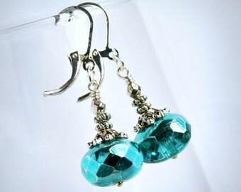 olivia aqua blue silver beaded earrings, silver lever back, czech glass earrings, sparkle