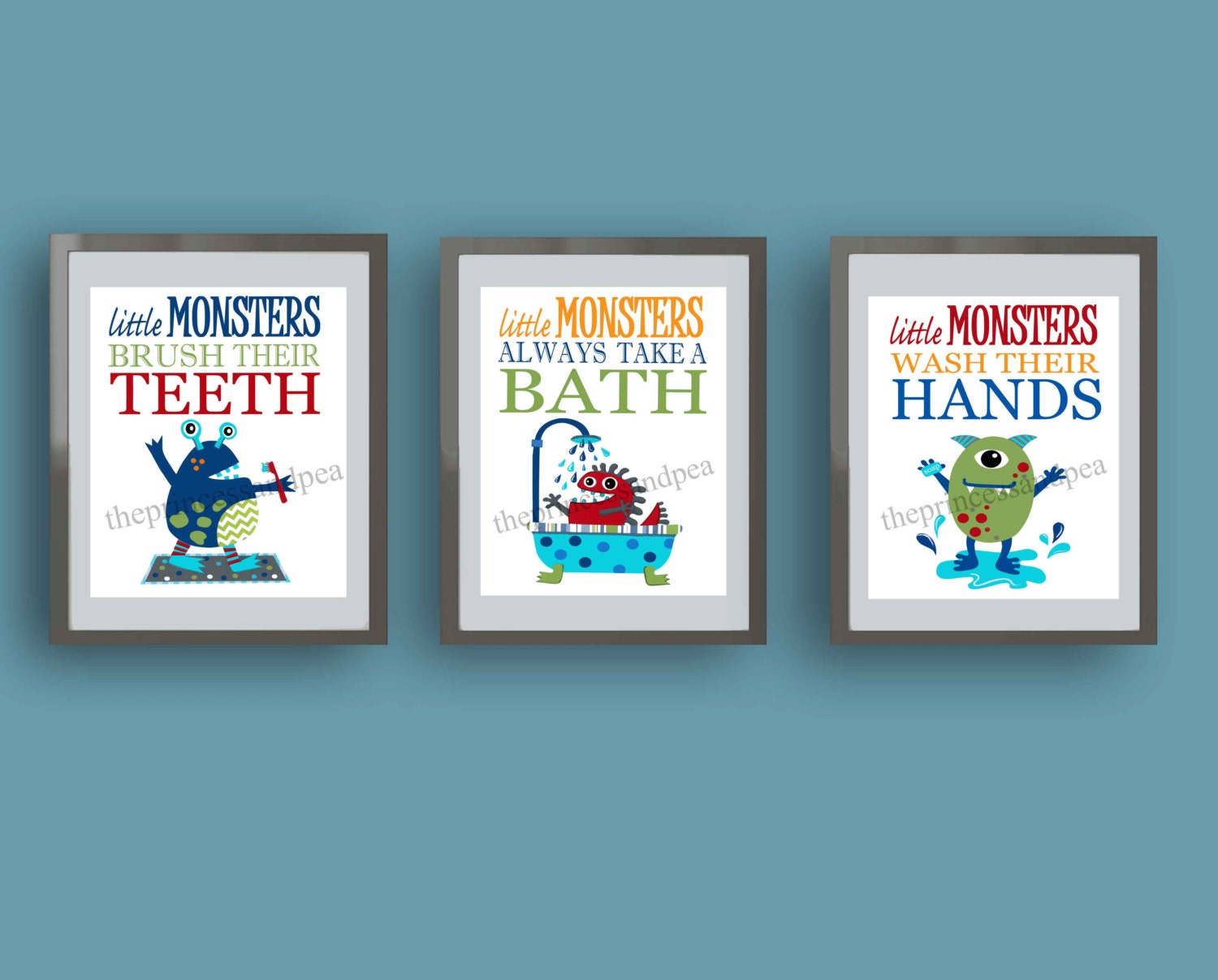 Monster bathroom art monster rules art prints kids bathroom for Children s bathroom designs