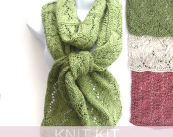 DIY Knitting , Knit Kit for vine lace scarf, knitting pattern , dk yarn ,  diy craft kit , mothers day gift for her , craft knitting gift ,