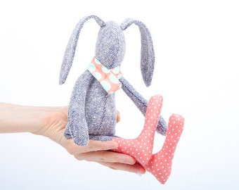 Stuffed bunny rabbit hare softie plush rabbit bunny doll cute summer stuffed toy Plush SMALL silk rabbit doll , baby bunny in scarf & socks