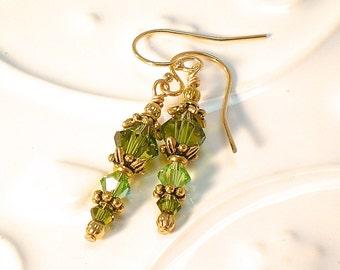 Small Olivine Fern Green Swarovski Handmade Earrings ~ Gold