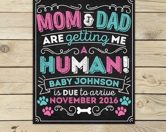 Dog Pregnancy Announcement Chalkboard Sign Printable - Mom and Dad are Getting Me a Human - Photo Props - Pregnancy Reveal - Cat